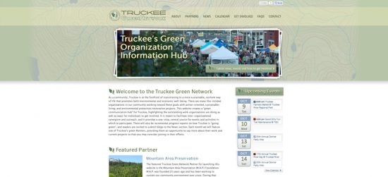 Truckee Green Network website design Lake Tahoe