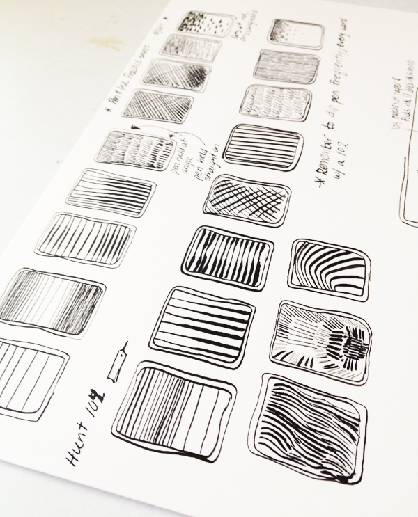 hatchmarks and line samples for illustrators