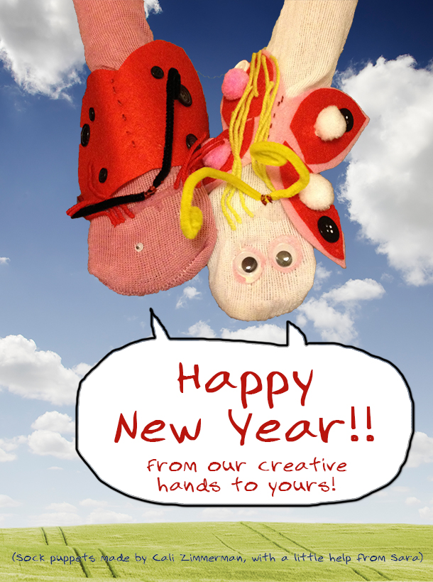 Happy New Years greetings from graphic designer Sara Zimmerman and family