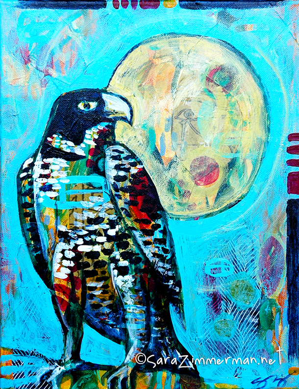 bird art and falcon paintings by california up and coming female painter Sara Zimmerman