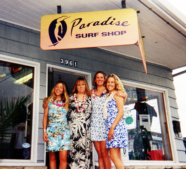 Paradise Surf Shop was owned by Sara Bray + 3 others and was the first women's surf shop in Northern California
