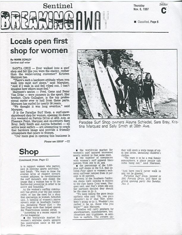 Paradise Surf Shop opening 1997 in Santa Cruz CA