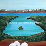 Emerald Bay, No.1, Acrylic on Paper- 7.5 in x 5.25 in, framed at 11×14 (reg. $90) SALE: $45