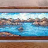Emerald Bay Summer 2, acrylic on reclaimed cabinet door, 23 in x 11.75 in – (reg. $250) SALE: $125