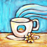 Morning Coffee, acrylic on canvas, 10in x 10in, (reg. $150) SALE: $75