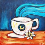 Night Coffee, acrylic on canvas, 10in x 10in, (reg. $150) SALE: $75