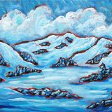 Powder Day, acrylic on canvas, 14in x 11in, (reg. $180) SALE: $95