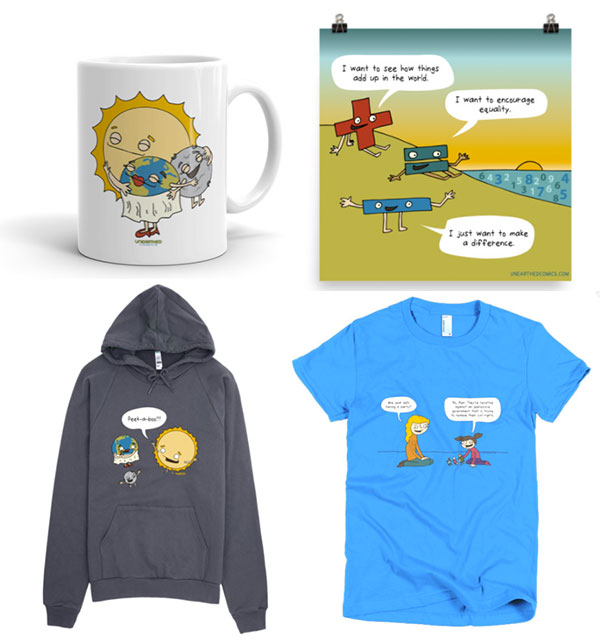 Unearthed Comics merchandise for science fans