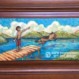 Donner Summer – acrylic on reclaimed cabinet door – 25.5 in x 17.25 in. – SOLD