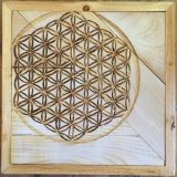"Flower of Life #1 – Pecan and Pine panel – 13"" x 13"" – SOLD"