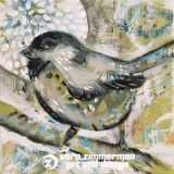 Mountain Chickadee 1, 12in x 12in, acrylic on canvas, SOLD