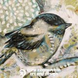 Mountain Chickadee 2, 12in x 12in, acrylic on canvas, SOLD