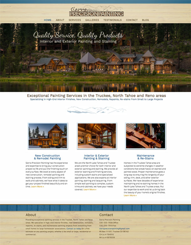 truckee web design project and lake tahoe website development project
