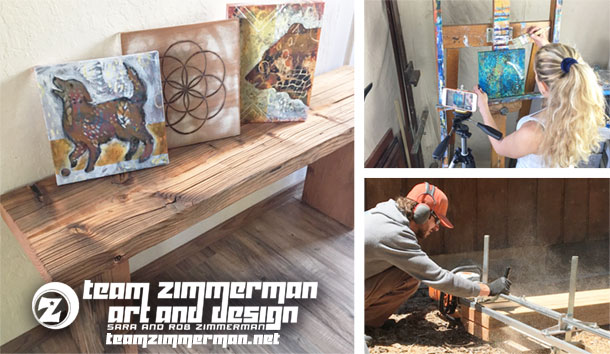 Sara and Rob Zimmerman art and design showing reclaimed wood benches and dog art at Squaw Valley art festival
