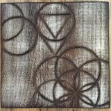 "Seeking Harmony – Peruvian Walnut – 11"" x 11"" – SOLD"